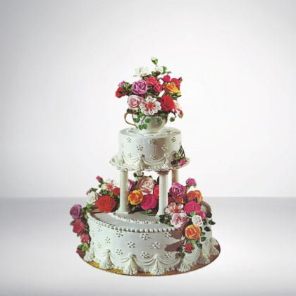 2 Tier Round Shape Cake With Stand and Bouquet