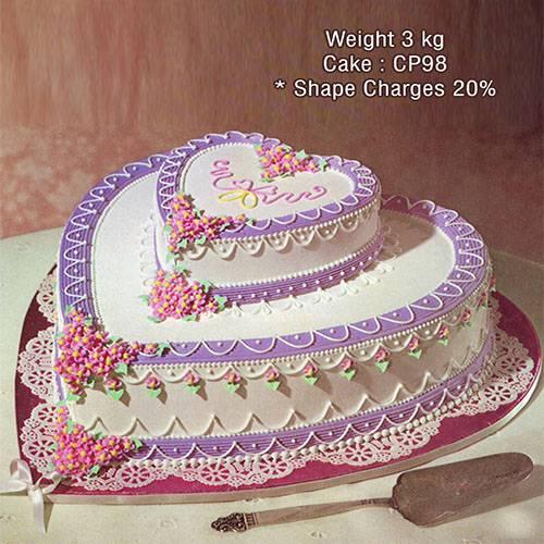 2 Tier Heart Cake