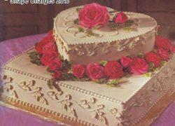 2 Tier Single Heart Cake